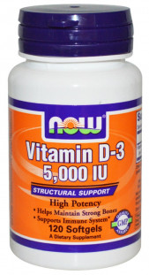 NOW Vitamin D-3 5000 М.Е. (120 кап)