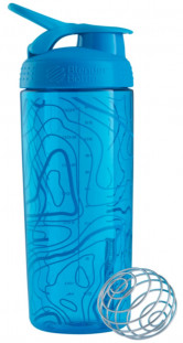 Шейкер BlenderBottle SportMixer Sleek  голубой Topo Flow Pattern (828 мл)